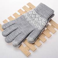 Вязанные перчатки для сенсорных экранов iTouch Серый с орнаментом