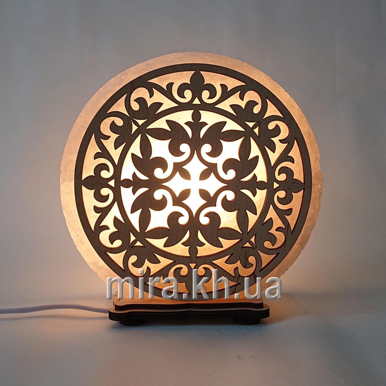 Соляной светильник круглый Узор 2