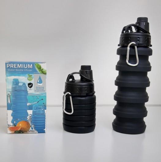 Удобная складная силиконовая бутылка для воды Premium Bottle 525 мл Черная