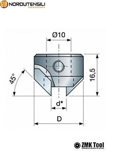 Зенкер для свердла діаметром 4 мм правий