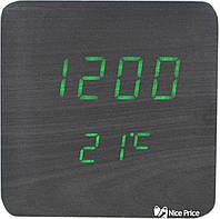 Часы VST 872 черное дерево (зеленая подсветка) (6995)