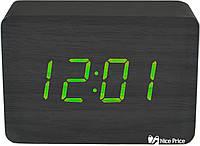 Часы VST 009 черное дерево (зеленая подсветка) (5607)