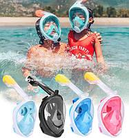 Детские полнолицевые очки для плавания FREE BREATH (XS) M2068G с креплением для камеры