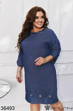 Осеннее платье джинсовое цвет: синий Размеры: 48-50, 52-54, 56-58, фото 2