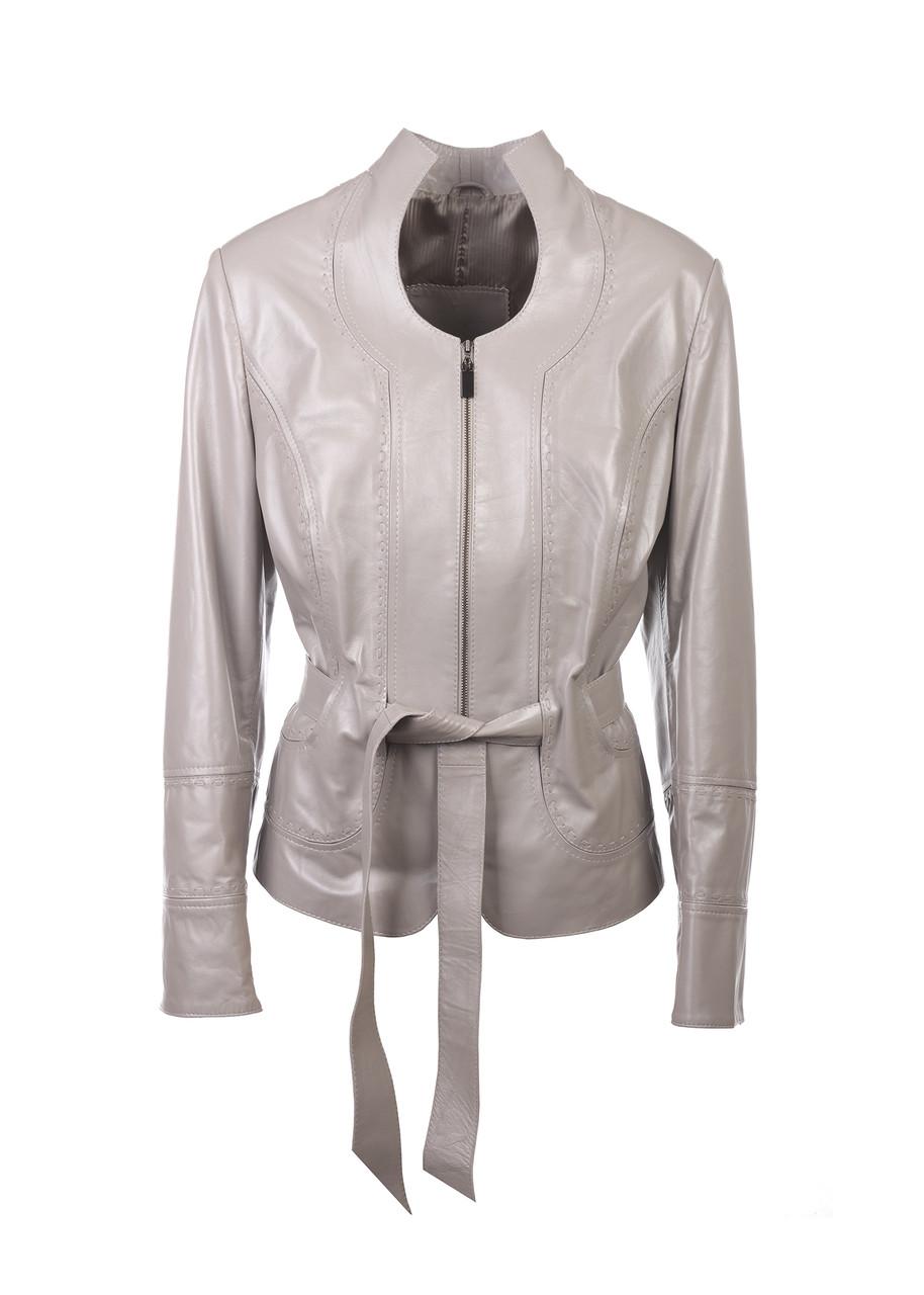 Кожаная куртка VK серая короткая (Арт. FER2-231)