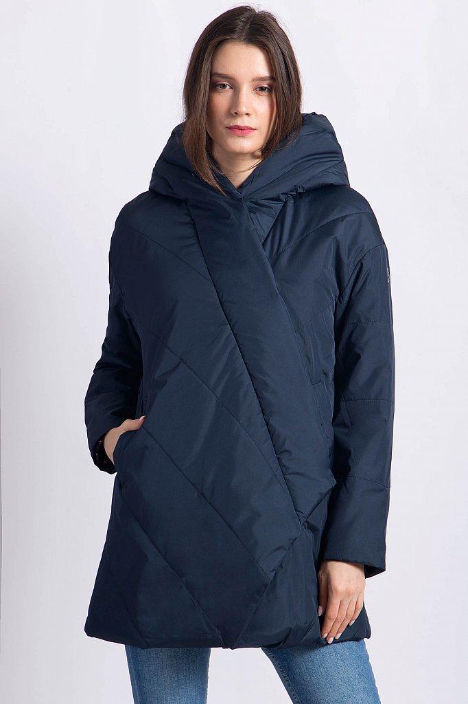 Женская демисезонная куртка Finn Flare B18-11010-101 с капюшоном темно-синяя