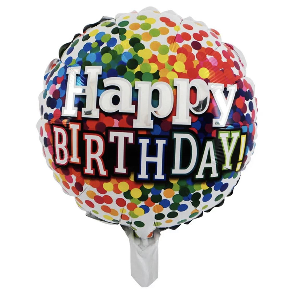 """Фольгированный круг """"Happy Birthday"""".Размер 18'"""