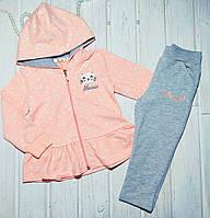 Спортивный костюм для девочки персиковый Котики Размеры  104 110 116, фото 1