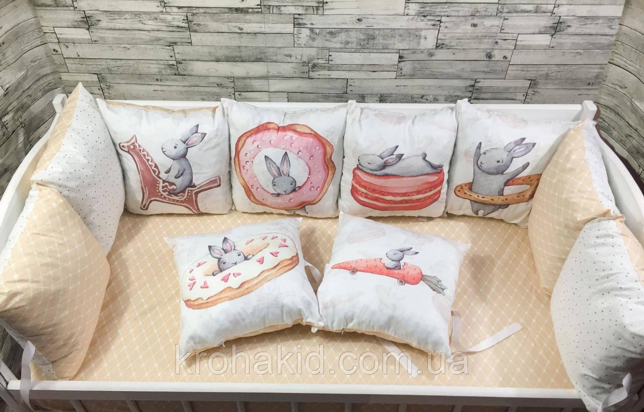 Набір бортиків в дитячу ліжечко 12 подушок і простирадло на гумці / захист на 4 сторони в дитяче ліжечко