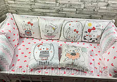 Набір бортиків в дитячу ліжечко 12 подушок і простирадло на гумці / захист на 4 сторони в дитяче ліжечко, фото 3