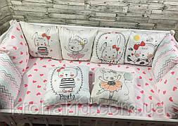 Набор бортиков в детскую кроватку 12 подушек и простынь на резинке / защита на 4 стороны в детскую кроватку