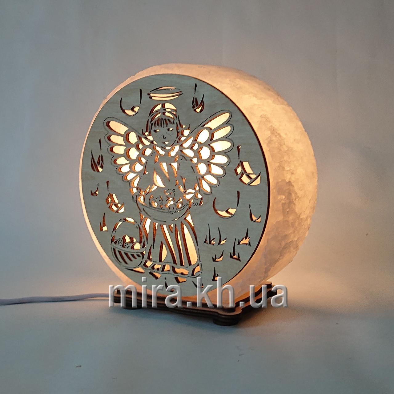 Соляной светильник круглый Ангел 2
