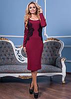 Нарядное трикотажное бордовое платье с кружевом