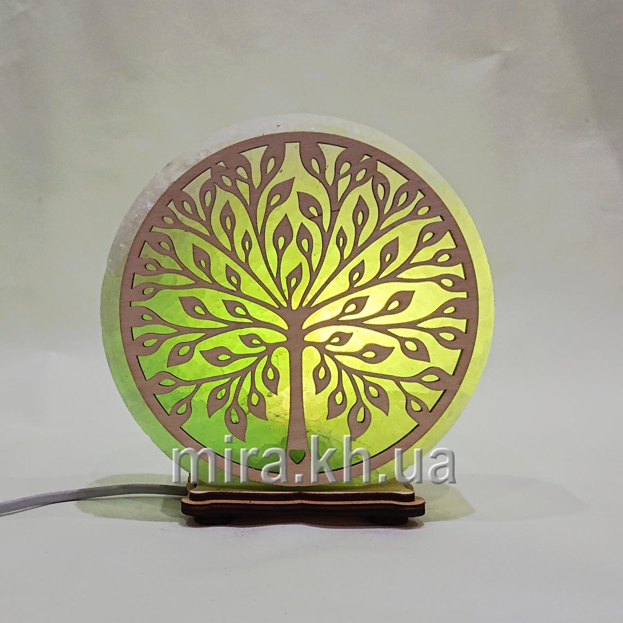 Соляной светильник круглый Дерево 2 зеленый