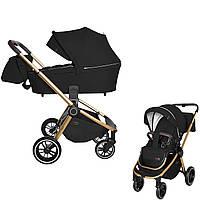 Универсальная коляска черная 2в1 золотая рама люлька прогулочный блок дождевик сумка CARRELLO Epica CRL-8510