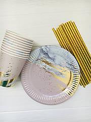 """Набір паперової посуду - тарілочки, стаканчики і трубочки """"Pink&Gold"""" (на 10 персон)"""