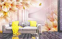 """3D Фотообои """"Туннель с цветами"""""""