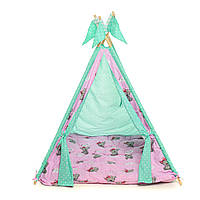 """Вигвам детский игровая палатка Вигвам """"Мишка Teddy"""" green-pink"""