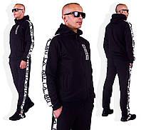 Мужской спортивный костюм с капюшоном черный
