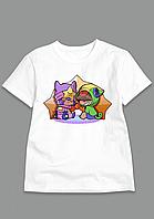 Футболка Сэнди и Леон Бравл Старс. Модная футболка для мальчиков и девочек.