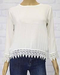 Блузка школьная для девочки, с кружевом понизу, 3/4 руав.,Breeze (размер 134)
