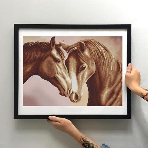 Картина Пара лошадей ММЖМ-011 [Материал: Габардин подклеенный флизелином]