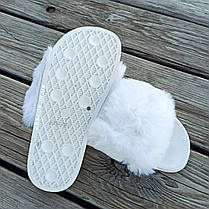 Шлепки шлепанцы сланцы тапки меховушки с мехом белые шльопанці з хутром білі, фото 3