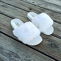 Шлепки шлепанцы сланцы тапки меховушки с мехом белые шльопанці з хутром білі, фото 2