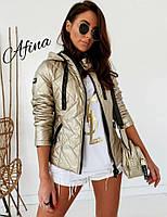 Женская куртка норма и батал цвет золото.