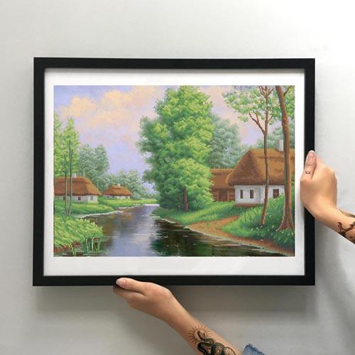 Картина Хутор у реки ММДП-018 [Материал: Габардин подклеенный флизелином]