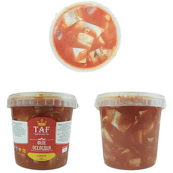 Сельдь кусочки в томатном соусе. Цена указана за ведро 1,1 кг.
