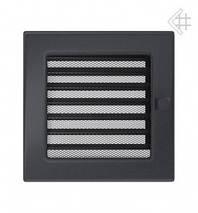 Вентиляционная решетка для камина KRATKI 17х17 см графитовая с жалюзи, фото 2