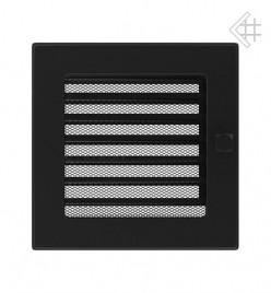 Вентиляционная решетка для камина KRATKI 17х17 см черная с жалюзи