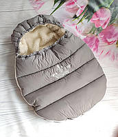 Зимний конверт-чехол на овчине в коляску, чехол в люльку, конверт на санки / спальник в коляску