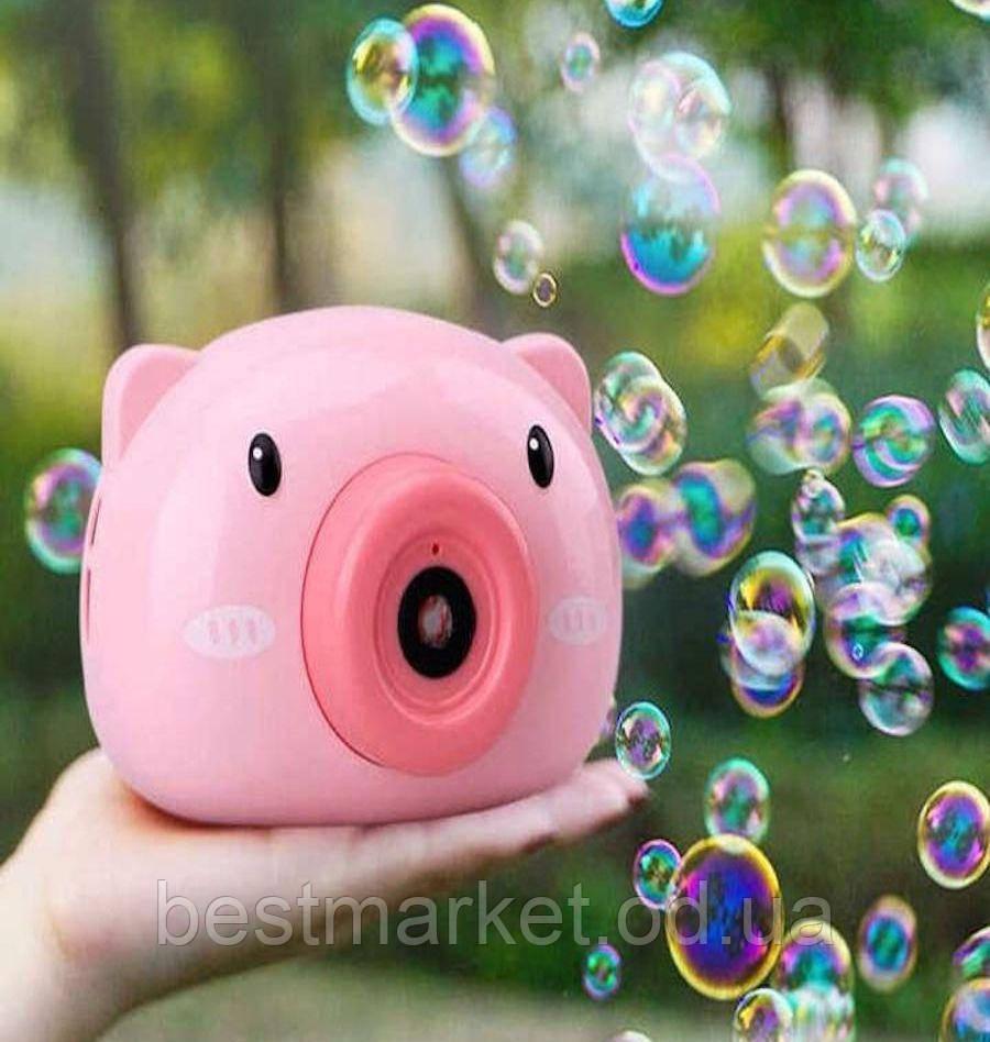 Фотоаппарат Детский для Мыльных Пузырей Bubble Camera Свинка