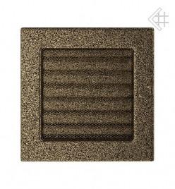 Вентиляционная решетка для камина KRATKI 17х17 см черно-золотая с жалюзи