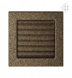 Вентиляционная решетка для камина KRATKI 17х17 см черно-золотая с жалюзи, фото 2