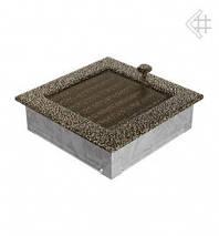 Вентиляционная решетка для камина KRATKI 17х17 см черно-золотая с жалюзи, фото 3