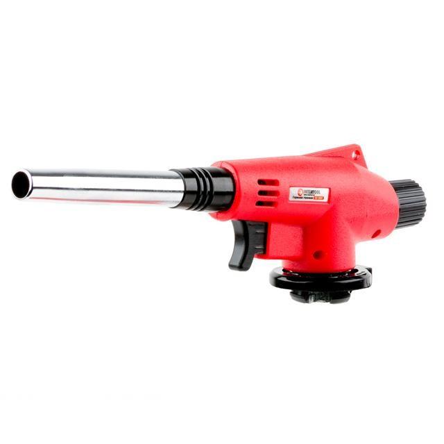 Пальник газовий, п'єзорозпал на гачку, регулятор, подовжене сопло INTERTOOL GB-0022