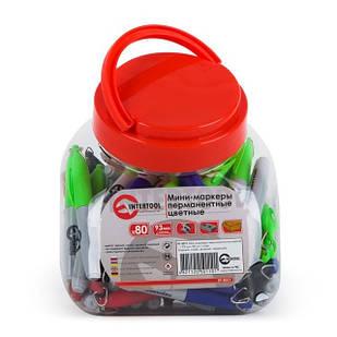 Міні-перманентні маркери кольорові, L= 93 мм, 80 шт/упак. (чорний, синій, зелений, червоний) INTERTOOL KT-5011
