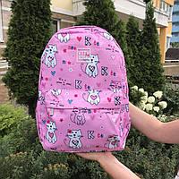 Рюкзак молодежный женский Котики Розовый, фото 1