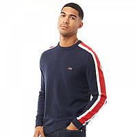 Свитшот JACK AND JONES JJ Badge Knit Crew Neck Jumper Sky Captain Navy - Оригинал