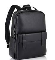 Молодежный городской рюкзак натуральная кожа черный Tiding Bag NM11-7537A