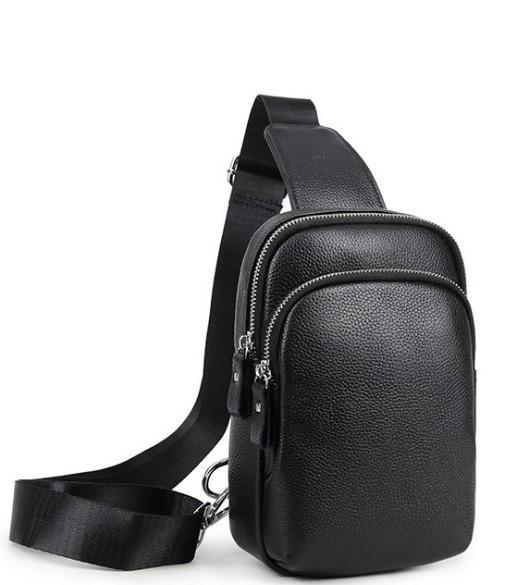 Мужской черный кожаный слинг на плечо Tiding Bag A25F-1922A