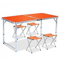 Складной туристический стол для пикника и 4 стула Folding Table