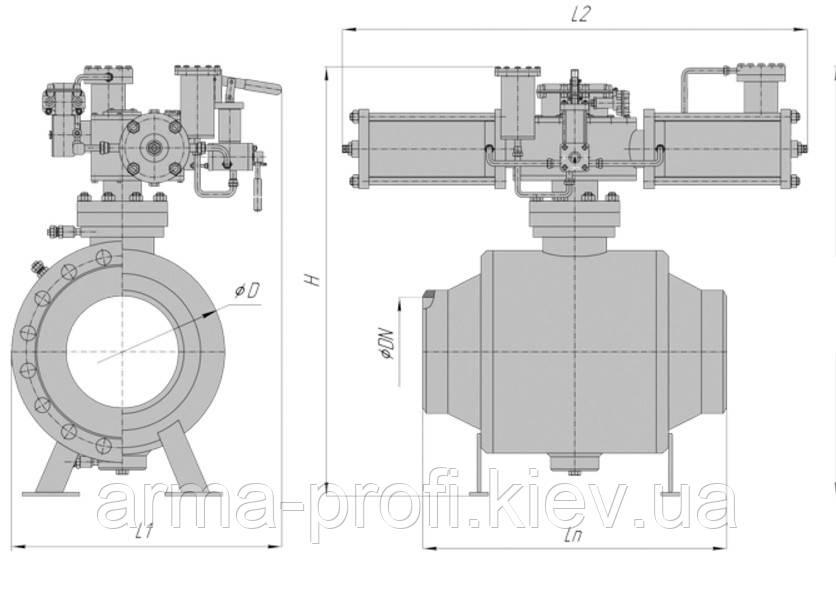Кран шаровой наземный под приварку РN100 (80) с пневмоприводом и блоком управления БУК DN 250