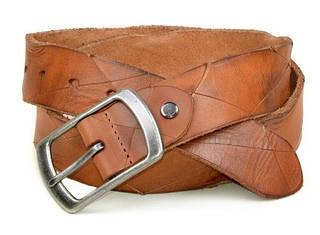 Мужской кожаный ремень под джинсы 2223 коричневый ДхШ: 130х4 см.
