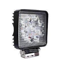 Светодиодная фара LED (ЛЕД) квадратная 27W, 9 ламп, широкий луч 10/30V 6000K | VTR