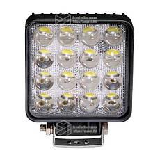 Светодиодная фара LED (ЛЕД) квадратная 48W (широкий луч) 3D линза | VTR