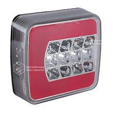 Фонарь cветодиодный ЛЕД задний квадратный универсальный 106 мм х 100 мм х 36 мм 12/24/36 V R   VTR